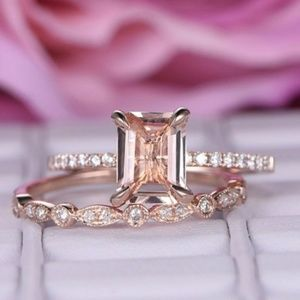 Jewelry - 14k Rose Gold 1.75ct Emerald cut Engagement Ring